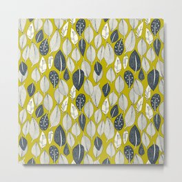 leaves and feathers chartreuse Metal Print