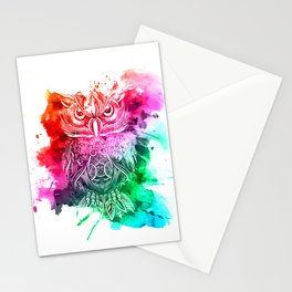 owl watercolor painting Stationery Cards