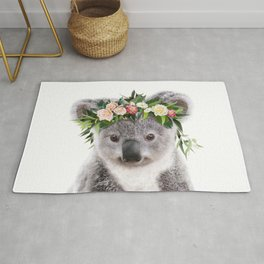 Baby Koala With Flower Crown, Baby Animals Art Print By Synplus Rug