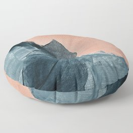 Renew: a minimal abstract piece in coral and blue by Alyssa Hamilton Art Floor Pillow