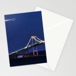 Full Moon and the Newport Bridge at Twilight- Newport, Rhode Island Stationery Cards