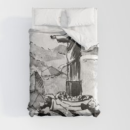 Rio De Janeiro Brazil Black and White Watercolor Painting Comforters