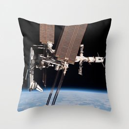 Endeavour docked to ISS Throw Pillow