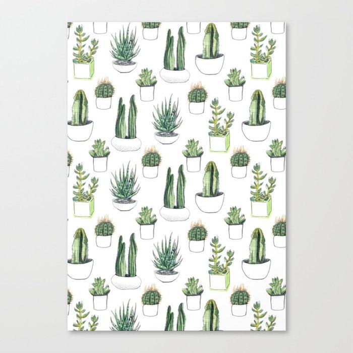 Watercolour Cacti & Succulents Leinwanddruck