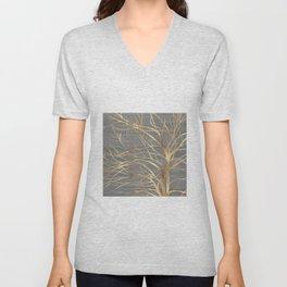 Modern Gold Tree Silhouette Minimal Gray Design Unisex V-Neck