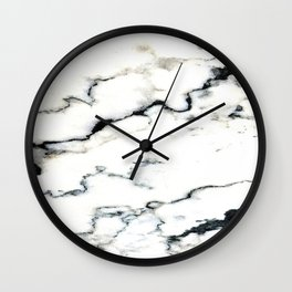 Smoky Whispers Black and White Marble Design Wall Clock