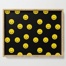 Smiley faces yellow happy simple rainbow colors pattern smile face kids nursery boys girls decor Serving Tray