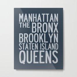 Boroughs of New York City - Blue Metal Print