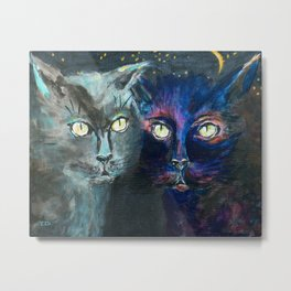 They Meet in the Night (Cats) Metal Print
