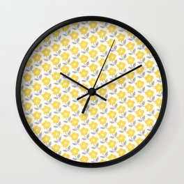 Yellow White Grey All Over Small Flower Floral Pattern Wall Clock