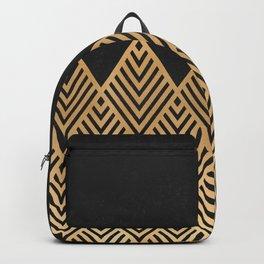 Geometric Black and Gold Backpack