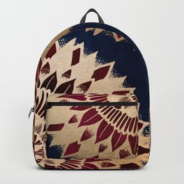 Bohemian Gold Navy Burgundy Hand Drawn Mandala Backpack