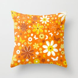 Flowers And Butterflies On Orange Background Throw Pillow