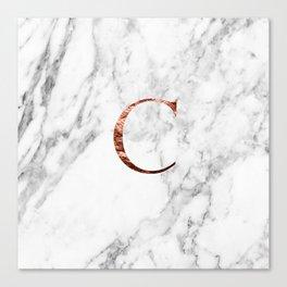 Monogram rose gold marble C Canvas Print