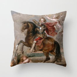 Peter Paul Rubens: Equestrian Portrait of the Duke of Buckingham Throw Pillow