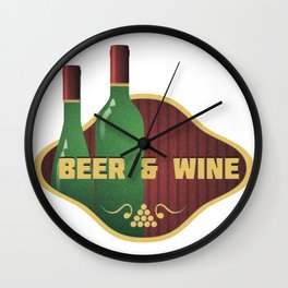 Beer And Wine Logo Wall Clock