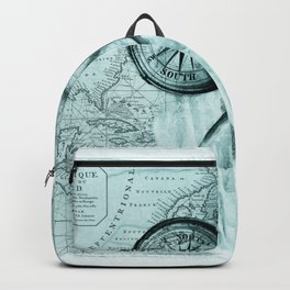 Great White Shark Compass Map Green Backpack