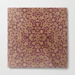 Antique Gold and Magenta Brocade Pattern Metal Print