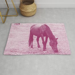 grazing horses magenta purple tone washed out effect aesthetic wildlife art photography Rug