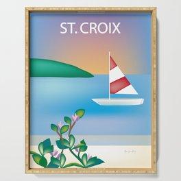 St. Croix, Virgin Islands- Skyline Illustration by Loose Petal Serving Tray