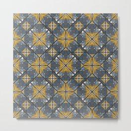Mexican Tile Pattern Yellow Metal Print