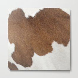Brown Cowhide, Cow Skin Pattern, Farmhouse Decor Metal Print
