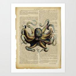 Book Art Octopus Color Art Print
