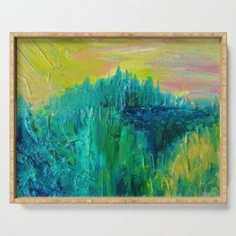 DREAM-SCAPE - Amazing Idyllic Nature Theme Pastel Dream Landscape Abstract Acrylic Painting Serving Tray