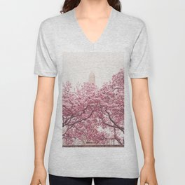New York City - Central Park - Cherry Blossoms Unisex V-Neck