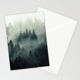 Misty pine fir forest landscape in hipster vintage retro style Stationery Cards