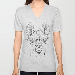 Lama hand drawn Unisex V-Neck
