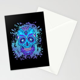 Lila sugar skull day of dead dia de los muertos Stationery Cards