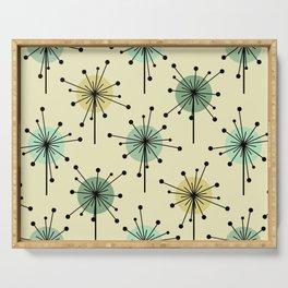 Atomic Era Sputnik Starburst Flowers Mint Serving Tray
