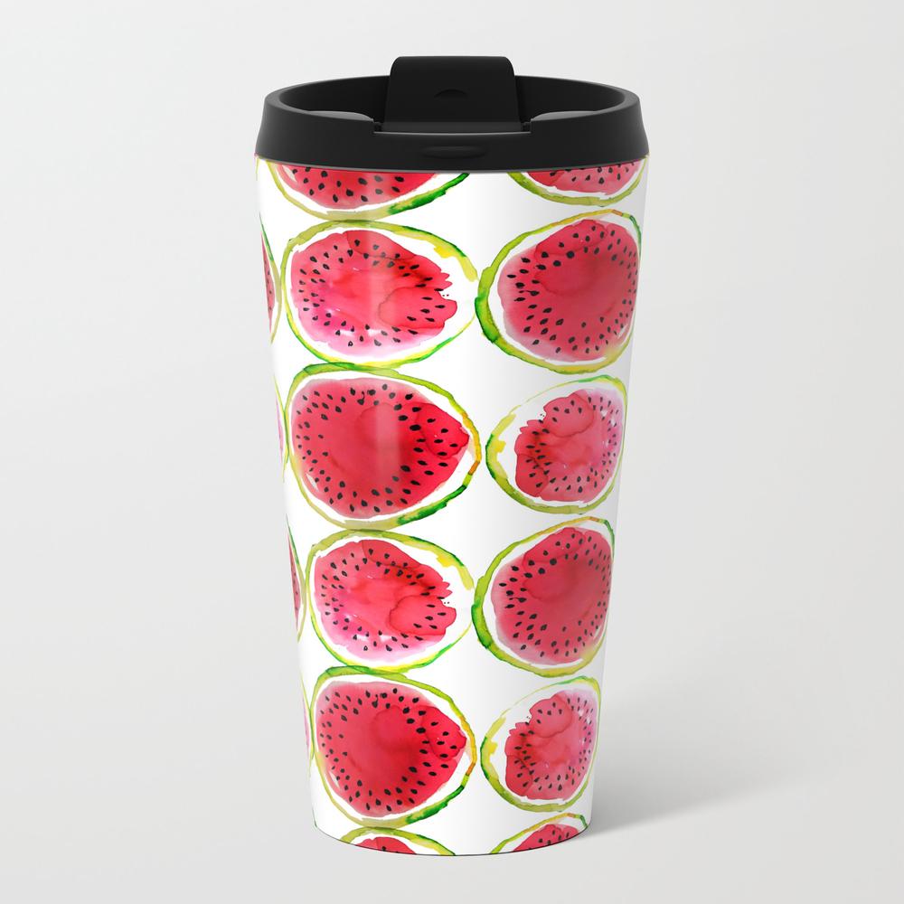 Watercolor Watermelon Fruit Illustration Metal Travel Mug by Silvianna MTM7817993