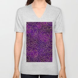 ABSTRACT FLORAL 5 Unisex V-Neck