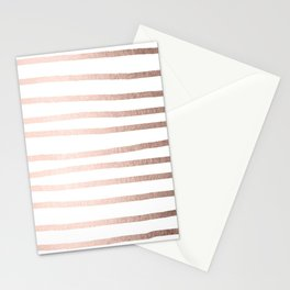 Simply Drawn Stripes Moon Dust Bronze Stationery Cards