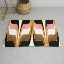 Mid Century Modern Liquid Watercolor Abstract // Gold, Blush Pink, Brown, Black, White Rug