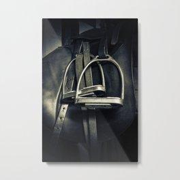 Stylish Silver Stirrups on English Riding Saddle Metal Print
