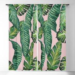 Jungle Leaves, Banana, Monstera II Pink #society6 Blackout Curtain