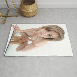 9360-KMA Brown Eyed Girl Kneeling Nude on Mirror Rug