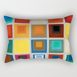 A Study in Colors & Color Theory modern, contemporary art in vivid colorful squares by Joseph Albers Rectangular Pillow