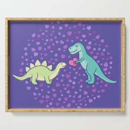 Cute Dinosaurs in Love, T-Rex is Giving a Heart to a Stegosaurus, Berry Blue, Green, Mint Colors, Dinosaur Illustration and Pattern Serving Tray