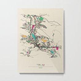 Colorful City Maps: Tbilisi, Georgia Metal Print