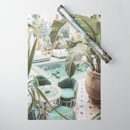Travel Photography Art Print | Tropical Plant Leaves In Marrakech Photo | Green Pool Interior Design Wrapping Paper