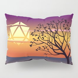 Beautiful Sunset By the Beach Trees and Birds D20 Dice Sun Tabletop RPG Landscape Pillow Sham