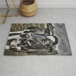 Melancholic Black White Dutch Cow Rug