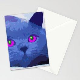 Pop art blue cat Stationery Cards