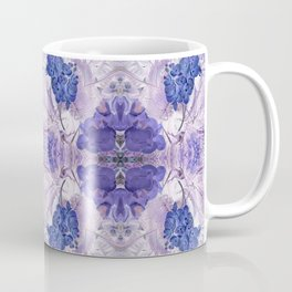 Blue Orchid Floral Mirrored Pattern. Coffee Mug