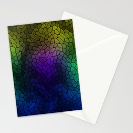 Volumetric texture of pieces of blue glass with a luminous mysterious mosaic. Stationery Cards