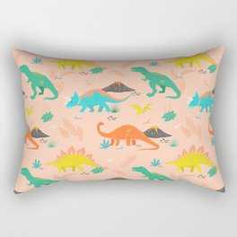 Jurassic Dinosaurs on Peach Rectangular Pillow